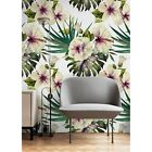 Removable wallpaper Hibiscus flower Tropical decor Watercolor Wall art