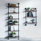 Rustic Industrial Ladder Wall Shelves W/ Wood Planks DIY Iron Pipe Standing US