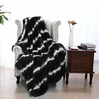 Reversible Soft Striped Plush Faux Fur Fleece Blanket for Couch/Bed 5 Colors image