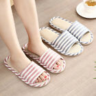 Men Women Open Toe Striped Flax Slippers Anti-slip Couple Home Shoes Sanwood