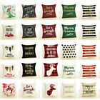 Merry Christmas Pillow Case Bed Waist Cushion Cover Cafe Home Decor Code