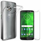 Clear TPU Gel Case Cover + Tempered Glass Screen Protector For Motorola Moto E5