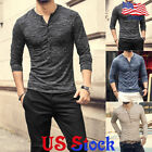 Fashion T-Shirt Tee Tops Slim Fit Long Sleeve Men's Casual Blouse Henley Muscle image