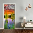 Self adhesive Door wrap removable Peel & Stick Landscapes Lake in the forest