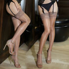 Womens Glossy Ultra-thin Sheer Shiny Lace Top Thigh High Silk Stockings Hold Ups