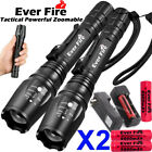 90000LM T6 LED Zoom Rechargeable High Power Torch Flashlight Lamp Light+Charger