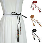 Women Beads Tassels Thin Skinny Waist Rope Belt Self-Tie Dress Waistband Code