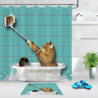Cat In The Self Timer In Bathtub Shower Curtain Bathroom Mat Waterproof Fabric