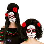 Day Of The Dead Wig Flower Mexican Senorita Ladies Fancy Dress Halloween Costume
