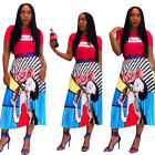 New Women Fashion Digital Cartoon Lovely Girl Print Casual Party Pleated Skirt