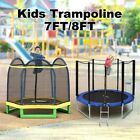 Genki 7/8ft Trampoline Round With Safety Net Enclosure Spring Pad Cover & Ladder