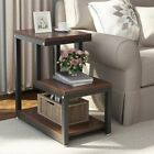 3 Tier End Table With Storage Side Sofa Shelves Small Bookcase Accent Furniture