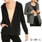 Women Long Sleeve Full Zip Up Thin Cotton Hoodie Jacket Classic Active w Pockets