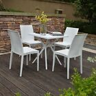 4 Seater + Table Rattan Garden Furniture Patio Dining Chairs Set Outdoor Wicker