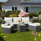 Garden Gear Rattan Daybed Furniture Outdoor Patio Lounger 5pc Sofa & Table Set
