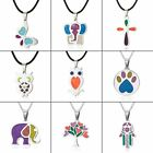Colorful Stainless Steel Animal Enamel Necklace Pendant Women Charm Jewelry Gift image