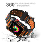 Silicone Band Strap Replacement w/ Bumper Case fr Apple Watch Series 3 2 1 42mm