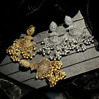 Traditional Tribal Oxidized Silver Gold Jhumka Earrings Indian Bollywood Jewelry