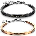 """Stainless Steel 7"""" Heart Clasp Cuff Bangle Bracelet-Free Engraving"""