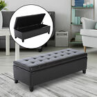 "51"" Tufted Top Storage Ottoman Bench PU Leather Organizer Chair Footstool Large"