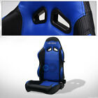 For Cadillac Dodge SP Blk/Blue PVC Leather Stitch Reclinable Racing Seat+Slider $122.95 USD on eBay