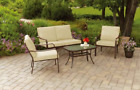 Patio Sofa Set 4pcs Outdoor Steel Furniture Garden Chat Sectional Set Cushion