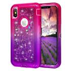Gradient Quicksand Glitter Bling Floating Liquid Case For iPhone w/Glass Screen