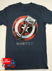 Avengers Captain America Worthy Mens T-Shirt For Fan Made USA Navy Tee image