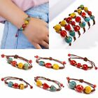 Women Boho Ceramic Beads Handmade Braided Bracelet Wristband Adjustable Bangle image