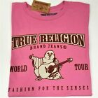 True Religion Pink T-Shirt Graphic Tee NEW Mens Double Puff Buddha Logo SpellOut image