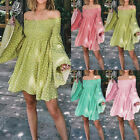 Women's Ladies Loose Mini Dress Cold Shoulder Print Long Sleeve Summer Dress
