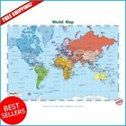 Large World Map Poster Paper Kids Educational Posters School Decoration Art Flag