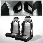 For BMW Buick SP Black/Silver PVC Leather Reclinable Racing Seats+Slider Pair