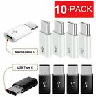 10 Pack Micro USB to Type C Adapter Converter Micro-B to USB-C Connector USA