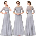 Ever-Pretty US Lace Bridesmaid Gray Half Sleeve Evening Party Dresses Plus Size