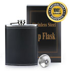 8oz Stainless Steel Pocket Hip Flask Liquor Whiskey Drink +Cup Funnel Set Gift