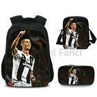 3 Pcs High Quality Cristiano Ronaldo CR7 Backpack Fashion Surprise Gift Travel R
