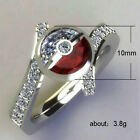 Pokemon Sapphire Red Ruby Ring Pikachu Wedding 925 Silver Jewelry Gifts