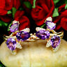 NATURAL PURPLE AMETHYST & WHITE CZ EARRINGS 925 STELRING SILVER
