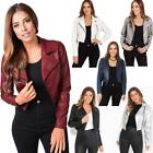 Womens Ladies PU Leather Jacket Short Bolero Coat Cropped Light Biker Bomber Zip