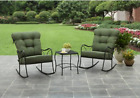 3 Pcs Patio Rocking Chair Set Outdoor Steel Furniture Coffee Table Cushioned