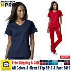 WonderWink Scrubs Set PRO Women's 4 Pocket Wrap Top  Waist Cargo Pant 6519/5419