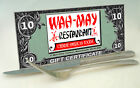 $10 Gift Certificate Wah May Restaurant Fairhaven MA from menujoy #131