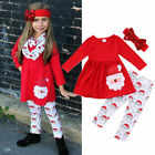 Xmas Christmas Toddler Kids Child Girls Baby Clothes Dress Tops+Pants