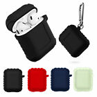 Shockproof Silicone Case Cover Protective Skin + Key Chain for Apple AirPods 1/2