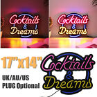17''x14'' Neon Light Sign Cocktail Dream Real Glass Tube Beer Bar Pub Display