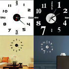 3D Large N umber Wall Clock Mirror Sticker Modern DIY Home Living Room Art Decor