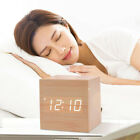 Wood Cube LED Alarm Voice Control Digital Desk Bedside Clock  Temperature FAC