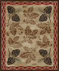 Lodge Cabin Forest Pinecone Rustic Area Rug **FREE SHIPPING**