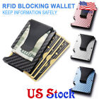 Metal Wallet Slim Carbon Fiber Credit Card Holder RFID Blocking Money Clip Purse image